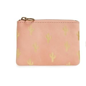 Madewell Cactus Embossed Pouch Wallet Blush
